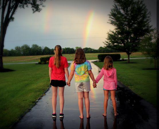 Teenagers and  rainbow Coronavirus